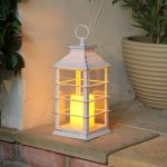 Outdoor Battery Flickering Candle Lantern, White, 31cm
