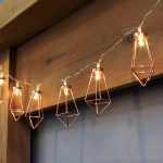 Rose Gold Metal Battery Lantern String Lights, 10 Warm White LEDs