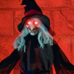 90cm LED Battery Black Robe Witch Halloween Figure with Light & Sound