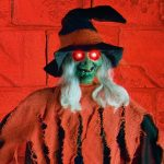 90cm LED Battery Red Robe Witch Halloween Figure with Light & Sound