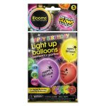 Single Pack of 5 Mixed Happy Birthday Balloons, White LEDs