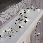 1.8m Black & White Beaded Garland Battery Fairy Lights, 20 Warm White LEDs
