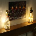 2 x Premier Mercury Wine Bottle With Festive Scene, 16 LEDs