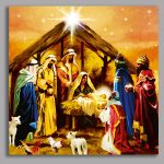 Premier Battery LED Light Up Nativity Scene Canvas Scene, 40 x 40cm