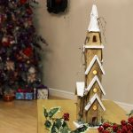 61cm Battery Wooden Lit Church with 10 Warm White LEDs