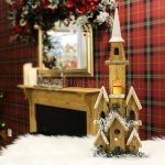 50cm Wooden Church Village Scene with Warm White LEDs