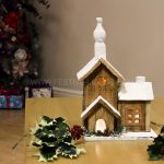 32cm Wooden Church Village Scene with Warm White LEDs