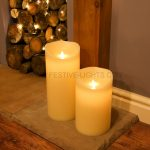 2 Cream Battery Flickering Dancing LED Flame Candles