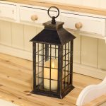 28cm Bronze Square Battery Lantern with Dancing Flame LED Candle