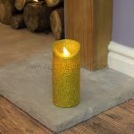 18 x 8cm Gold Battery Flickering Dancing Flame Glitter Candle