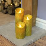 3 Gold Battery Flickering Dancing Flame Glitter Candles
