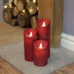3 Red Battery Flickering Dancing Flame Glitter Candles