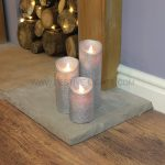 3 Silver Battery Flickering Dancing Flame Glitter Candles