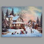 Premier Battery Snowy Winter House with Presents Canvas Scene, 40 x 30cm