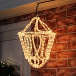 Clear rope light Hanging 3d Lantern 33cm