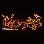 147cm Santa in Sleigh with Reindeer Rope Light Christmas Silhouette