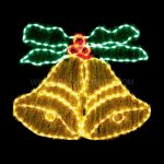 85x74cm Double Bell Rope Light Christmas Silhouette