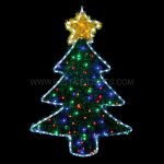 1m x 70cm Multi Colour Tinsel Christmas Tree Silhouette, 90 LEDs