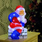 32cm Acrylic Santa on Chimney Figure with White LEDs