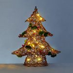 48cm Twig Effect Christmas Tree Decoration with Berries, Warm White LEDs