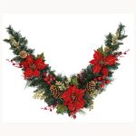 1.20m Mantel Garland with Poinsetta & Berries