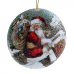 10CM SANTA CLIMBING THRU CHIMNEY SCENE DISC BEADED BALL ORNAMENT