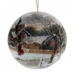 10CM HOUSE SCENE DISC BEADED BALL ORNAMENT