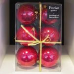 6 x 10cm Red Gloss Balls in PVC Box