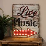 Live Music' Wooden Battery LED Sign, 53cm