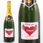 Personalised Big Heart Champagne