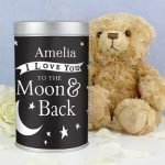 Personalised To the Moon and Back Teddy in a Tin