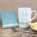 Personalised Home Is Where Mug & Coaster Set