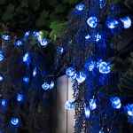Solar Heart Fairy Lights, 50 Blue LEDs, 5m
