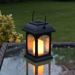 Black Solar Candle Lantern, Flickering Amber LED, 15cm