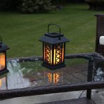 Black Solar Candle Lantern, Flickering Amber LED, 17.5CM