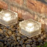 Solar Glass Brick Garden Path Light, Warm White LED, 4 Pack