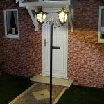 Large Black Twin Head Solar Lamp Post, 2.1M