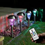 Solar Garden Stake Lights with Remote Control, 4 Pack