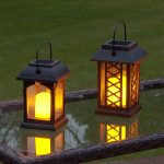 Solar Flickering Candle Lantern, Amber LED, 2 Pack