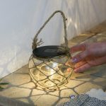 Solar Glass Lantern with Rope Finish, Warm White LED
