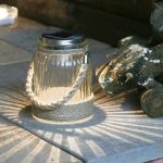 Solar Glass Cornish Jar Lantern with Rope Finish, Warm White LED