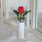 Blossom Collection Battery LED Rose Flower Light with Vase, Red, 28cm