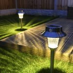 D180 super solar PIR lamp stake light 2pk