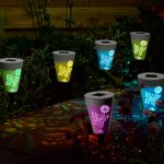 Silhouette Solar Stake Lights, Colour Changing LED, 6 Pack