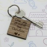 Personalised Kids Handwriting Wooden Keyring