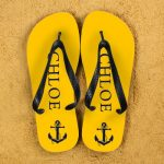 Personalised Flip Flops in Yellow and Blue