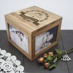 Personalised Just Married Oak Photo Keepsake Box