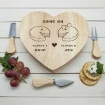 Personalised Game On Couples Heart Cheese Board