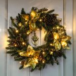 60cm Outdoor Green Battery Pre Lit  Wreath with Gold Poinsettias