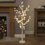 1.25m White Rose Twig Tree, 72 Warm White LEDs